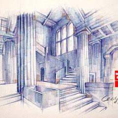 Architektur skizze, Architektur zeichnen lernen, Zeichnen Architektur, Mappenkurs Düsseldorf
