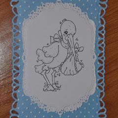 Malvorlage Storch mit Baby zur Kartengestaltung