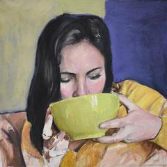 Sarah Huile sur toile 40 x 40 cm 2018 collection privée