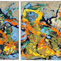 """GARDEN OF EARTH""   (diptych)   33X79 overall  $3900"