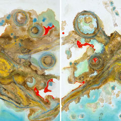 """ORION'S PAINT POTS""  (diptych)  30X60 overall   SOLD"
