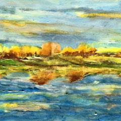 """NEW LAND""  (12x24 on finished 1.5"" deep cradled wood panel)  $1100"