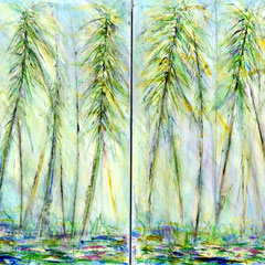 """HANA BAMBOO"" diptych  (18x24 ea/ 18x48 oa on traditional canvas)  Exclusively at Wertheim Contemporary (808) 573-5972"