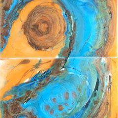 """""""LEAP OF FAITH II""""  diptych  (16x10 on finished 1.5"""" deep cradled wood panel)  SOLD"""