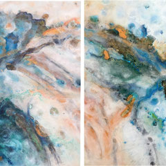 """ANDROMEDA REFLECTED""  (diptych)  30X80  $9200 SET OF 2"