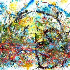 """THE LOVER'S TRANCE""  (diptych)  50X66  $7300 set"