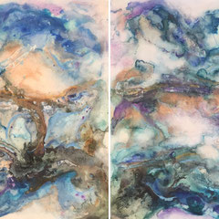 """""""ELEMENTS OF WATER"""" (diptych / vertical or horizontal on 2""""cradled wood panel)  40x60 overall SOLD"""