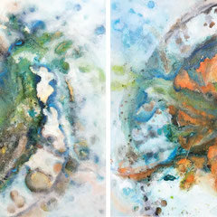 """THE EYE OF GOD""  (diptych)  30X60 overall   $6000 set of 2"