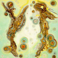 """EQUINOX~THE GREENING""  (diptych)  48X48 overall  $3000 set"