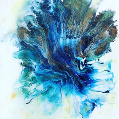 """BLUE SEA FAN III""  series  (14x11 on traditional canvas). SOLD"