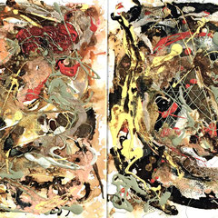 """ACOUSTIC STORM""  (diptych)  20X32  $1800 set of 2"