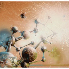 """""""Beziehungsgeflecht"""" - Honsar - Acryl-Mischtechnik auf Leinwand - 100 x 80 cm -2009"""