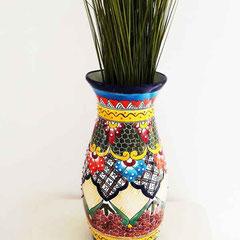 Bunte handbemalte Blumenvase aus Keramik