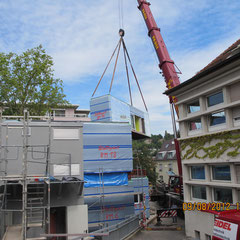 Marienhospital Stuttgart Modulbau - während der Montage der Module