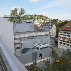 Marienhospital Stuttgart Modulbau - Ansicht von Süd in Richtung Nord nach Errichtung Modulbau