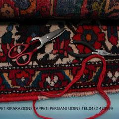 Restauro bordo tappeto consumato, riparazione bordo tappeto con lana origine Pasian di Prato