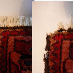 Restauro angolo tappeto persiano rovinato prima e dopo, riparazione angolo tappeto, tabriz carpet Pasian di Prato