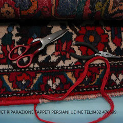 Lignano Sabbiadoro- Restauro bordo tappeto consumato, riparazione bordo tappeto con lana origine