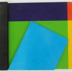 Rezsö Somfai, Ambiente 90° Blau, 2002, Acryl auf Leinen und Aluminium, Fichte gebrannt, 50 x 57 x 5 cm