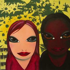 Kerstin Lichtblau, Freundinnen 60 x 80 cm, Öl und Siebdruck auf Leinwand, ABC Westside Galerie