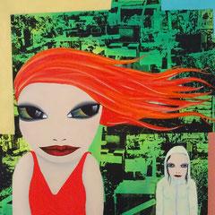 Kerstin Lichtblau, Prinzessinnengarten, 90 x 80 cm, Öl und Siebdruck auf Leinwand, ABC Westside Galerie