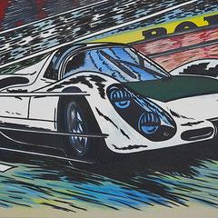 """Roland Joungtorius, Porsche 907, """"3"""", Öl auf Leinwand, 160 x 100 cm, 2007"""