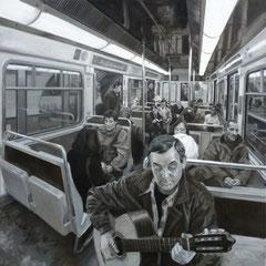 Nicolas Curmer, Les prochains, 85 x 85, Öl auf Holz, ABC Westside Galerie