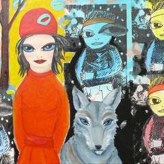 Kerstin Lichtblau, Rotkäppchen, der Wolf und Freundin, 100 x 140 cm, Öl, Acryl und Siebdruck auf Leinwand, ABC Westside Galerie