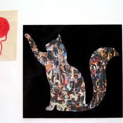 Marc Avrel, قط  (qat) RF01.16/17KW, 130 cm x 140 cm / 70cm x 50cm,  Acryl und Transferfolie auf Leinwand, 2017, ABC Westside Gallerie