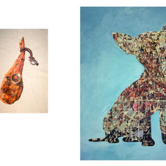 "Marc Avrel,""De Evolution"",  200 cm x 150 cm / 103 cm x 77 cm,  Acryl und Transferfolie auf Leinwand, 2017,  ABC Westside Gallerie"