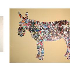 Marc Avrel, freedom of choice, 95 cm x 125 cm / 73 cm x 26 cm,  2017, Acryl und Transferfolie auf Leinwand, 2017, ABC Westside Gallerie