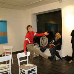 """""""Lagepläne"""", Elvira Lantenhammer, Performance Gila Stolzenfuß,  ABC Westside Galerie"""