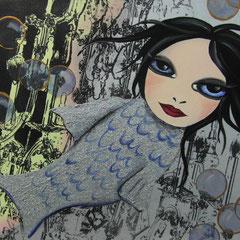 Kerstin Lichtblau, Fischmädchen 50 x 40 cm, Öl und Siebdruck auf Leinwand, ABC Westside Galerie