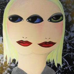 Kerstin Lichtblau, Dreiaugen, 70 x 50 cm, Öl und Siebdruck auf Leinwand, ABC Westside Galerie