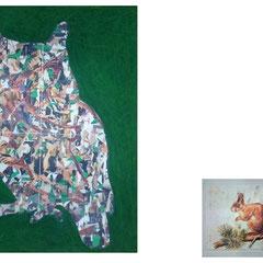 """Marc Avrel,""""HuhuUhu"""", 60 cm x 40 cm / 25 cm x 35 cm,  Acryl und Transferfolie auf Leinwand, 2017, ABC Westside Gallerie"""