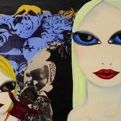 Kerstin Lichtblau, Puppenspielerinnen, 70 x 120 cm, Öl und Siebdruck auf Leinwand, ABC Westside Galerie