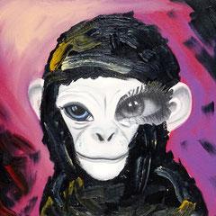 Kerstin Lichtblau, Ape 50 x 40 cm, Öl und Collage auf Leinwand, ABC Westside Galerie