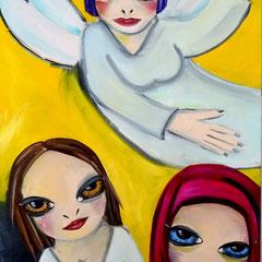 Kerstin Lichtblau, Engel und Mädchen, 120 x  80 cm, Öl auf Leinwand, ABC Westside Galerie