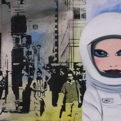 Kerstin Lichtblau, Astronautin auf der 42nd Street, New York, 60 x 80 cm, Öl, Acryl und Siebdruck auf Leinwand, ABC Westside Galerie