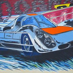 """Roland Joungtorius, Porsche 907, """"1"""" Öl auf Leinwand, 160 x 100 cm, 2007"""