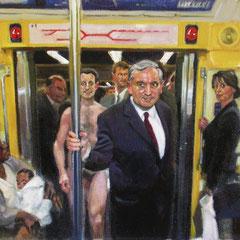 Nicolas Curmer, Sarko dans le metro 48 x 54, Öl auf Holz, ABC Westside Galerie