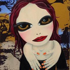 Kerstin Lichtblau, Human Scarf, 70 x 50 cm, Öl und Siebdruck auf Leinwand, ABC Westside Galerie