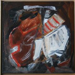 Titel Nr.2: Offenes Buch Entstehungsjahr: 1996 Breite: 60 cm, Höhe: 60 cm Acryl, Pigmente, Sand, Kunstharz auf Leinen
