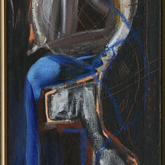 Titel Nr.4: Dame Entstehungsjahr: 1996 Breite: 35 cm, Höhe: 90 cm Acryl auf Leinen