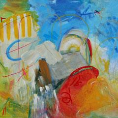 Titel Nr.4: Mitsommer Entstehungsjahr: 2011 Breite: 80 cm, Höhe: 60 cm Acryl auf Leinen