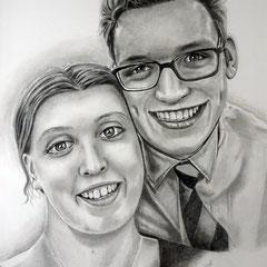 Celina und Simon, Graphit auf Bristol, ca 30 x 40 cm, Fotovorlage: Celina Martin