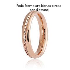 Fedi Nuziali  Unoaerre Eterna Oro Bianco e Rosa con Diamanti