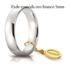 Fedi Nuziali comoda unoaerre oro bianco 5 mm