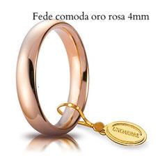 Fedi Nuziali  unoaerre comoda oro rosa 4 mm