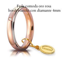 Fedi Nuziali  unoaerre comoda bicolore oro rosa bordi bianchi diamante 4 mm